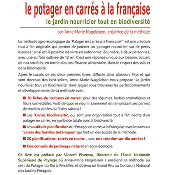 """Présentation livre """"le Potager en carrés à la Française - le jardin nourricier tout en biodiversité"""" par Anne-Marie Nageleisen"""